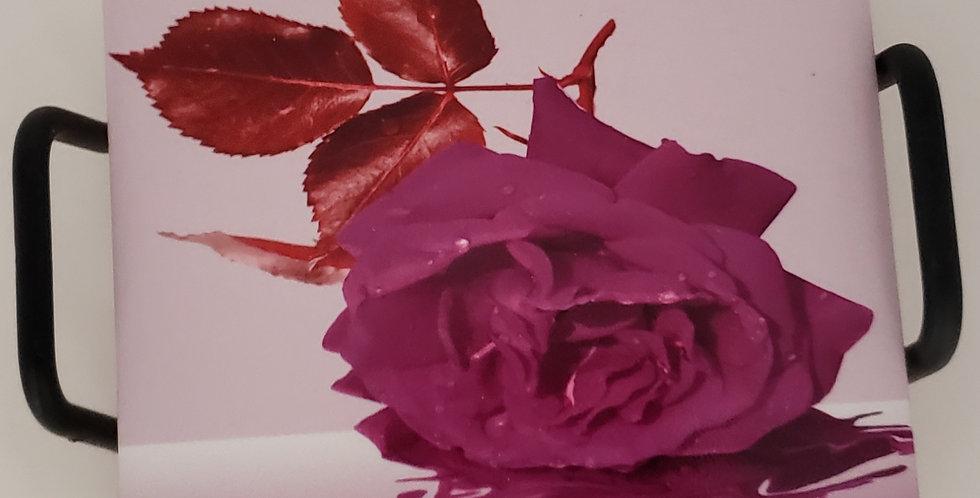 Purple Rose Coaster Set of 4 with Black Metal Holder