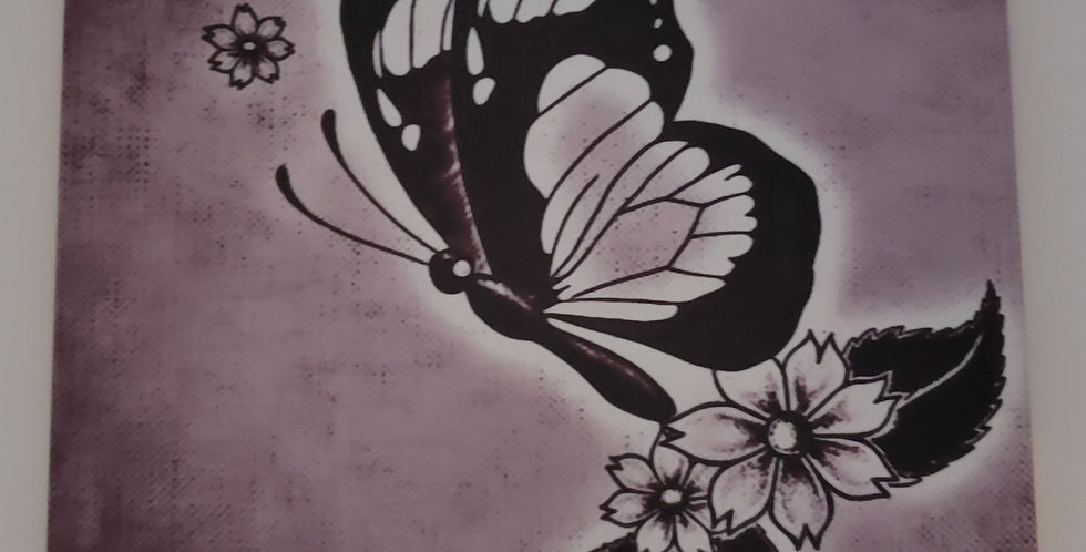 Purple Shade Butterfly Ceramic Hanging Wall Tile