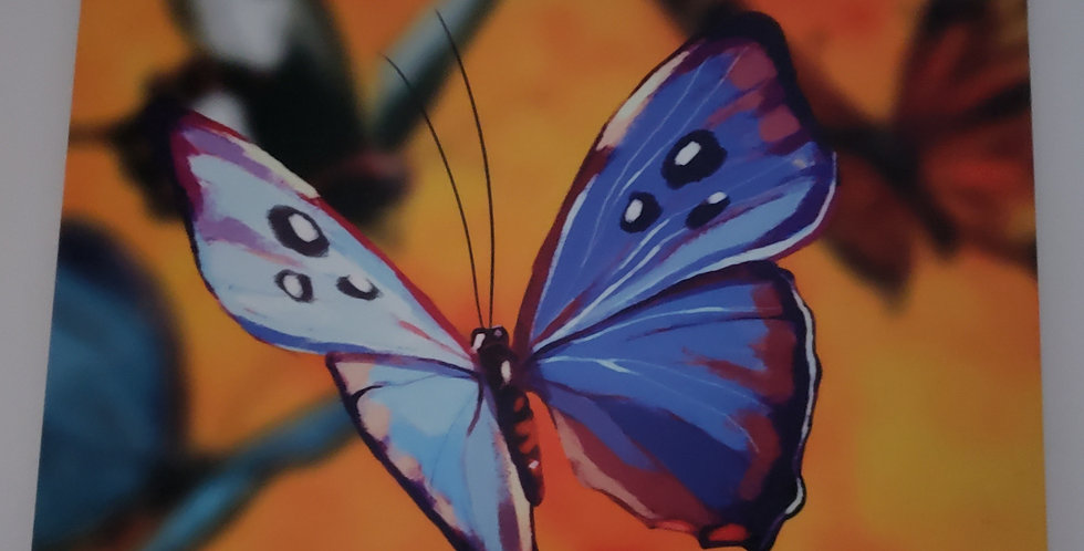 Blue Butterfly Ceramic Hanging Wall Tile