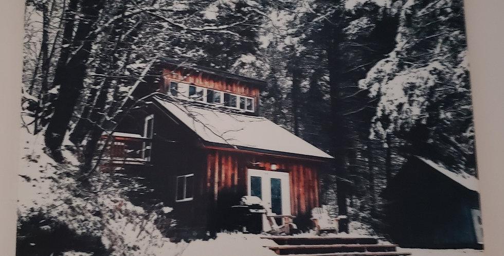 """Winter Cabin Ceramic Tile Wall Decor 8' x 10"""""""