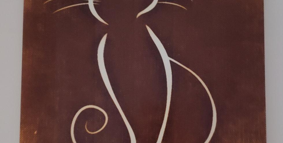 Cat Outline Ceramic Hanging Wall Tile