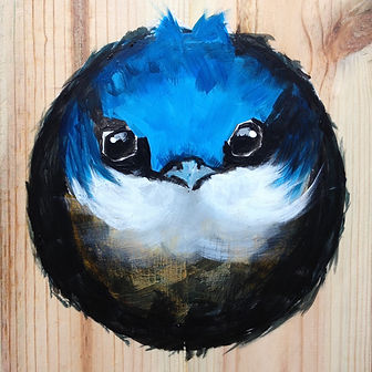 On Guard Sparrow Painting on Wood Board