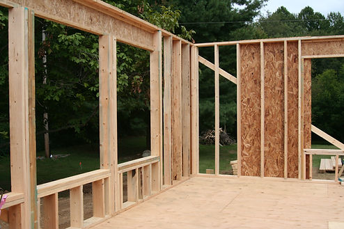 Framed exterior wall during house construction