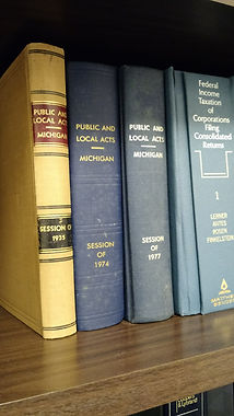 Michigan law books in a bookcase
