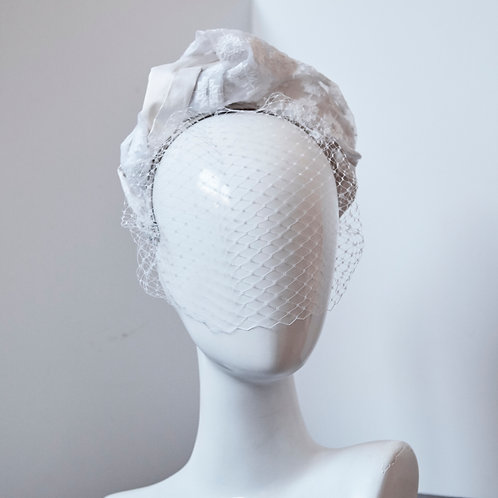 Embroidered Silk Turband with Veiling