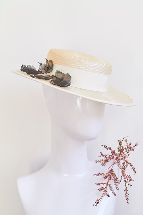 Ivory boater with Beaded Silk Petals