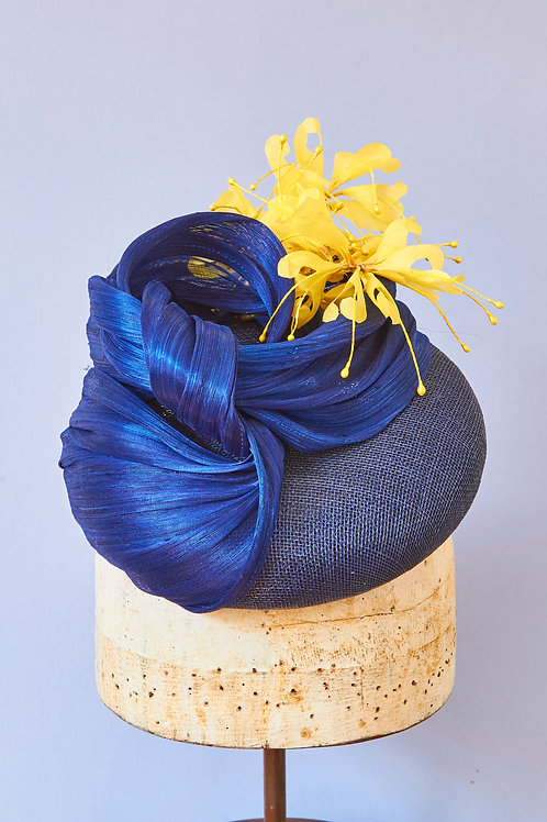 Navy Sinamay Button with Silk Abacca twist and Yellow Grevillea