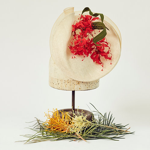 Ivory Sinamay Percher with Red Grevillea