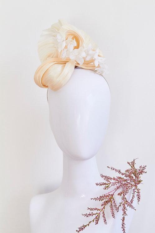 Silk abaca modern Turban with silk Hydrangea