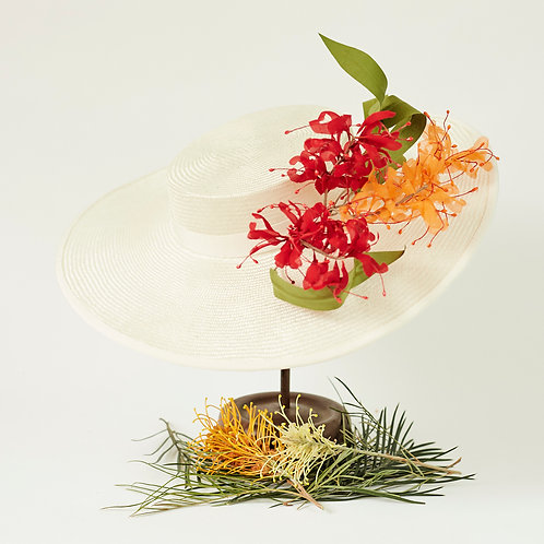 Ivory Picture Hat with Silk Grevillea