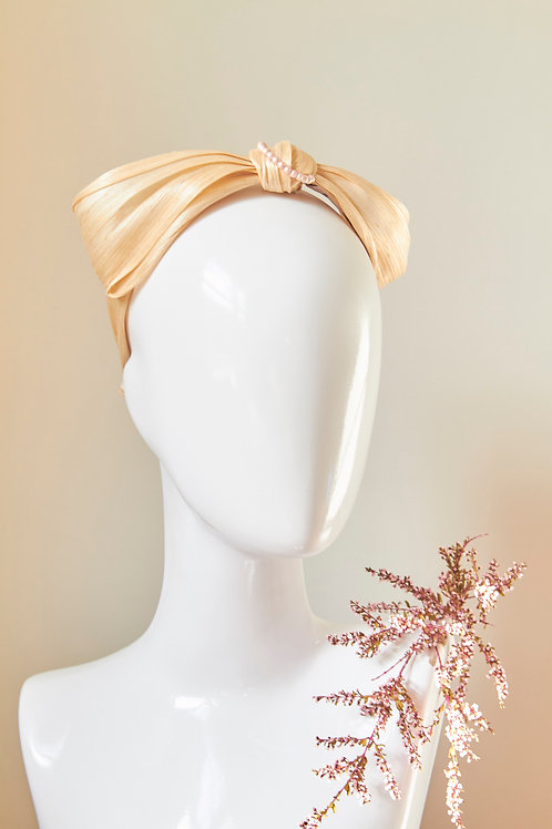 Silk Abaca Bow headband with string of pink pearls