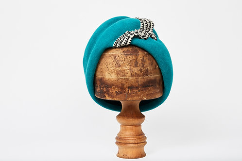 Turquoise Turban with Houndstooth Frill detail