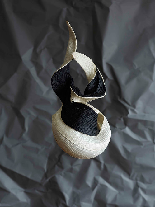 Ivory and Black twisted Button
