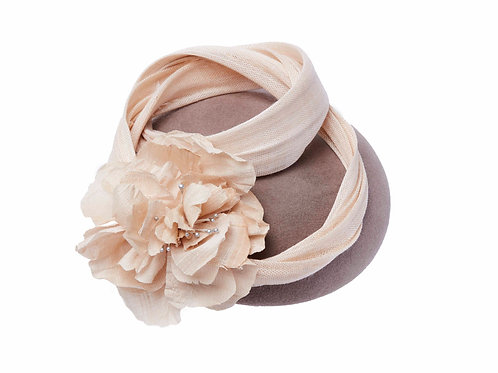 Taupe Button with Ivory Silk Twist and Peony