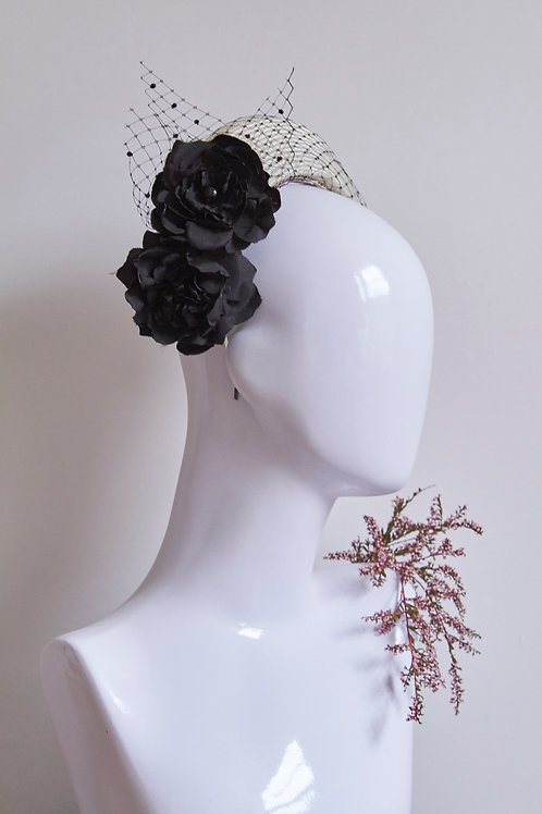 Black Camellia crown with veiling