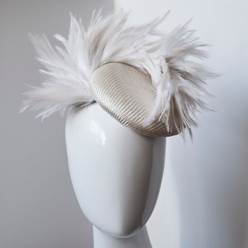 Ivory Button with Feather Flair