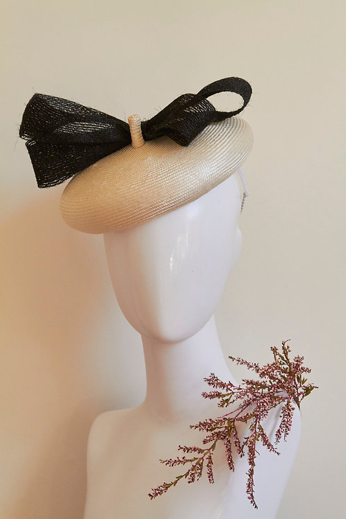 Ivory Beret with Vintage Braid Bow