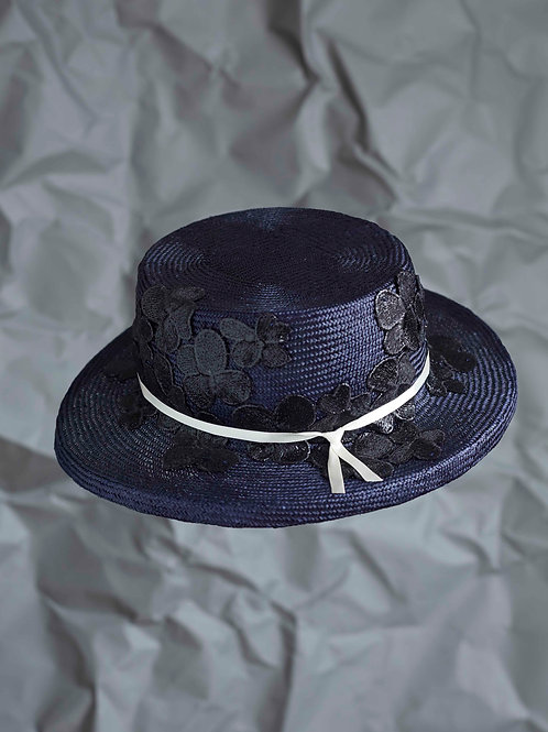 Navy brimmed Boater with Black Lace