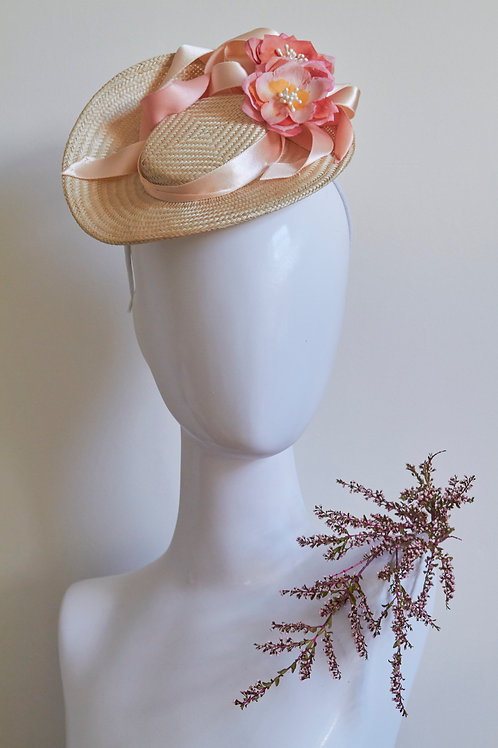 Ivory straw percher with Pink Peonies