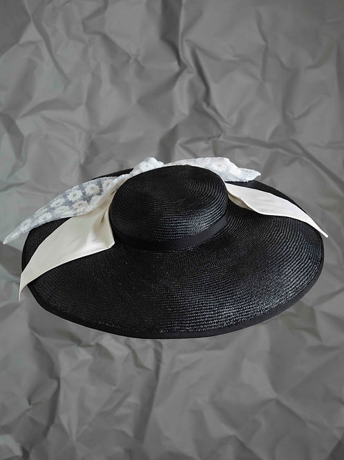 Black Picture Hat with Silk bow