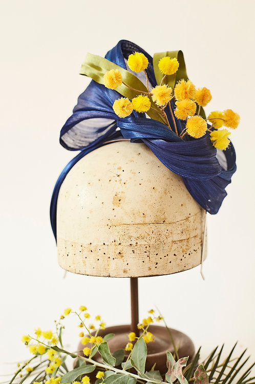 Royal Blue Silk Abacca Turband with Wattle