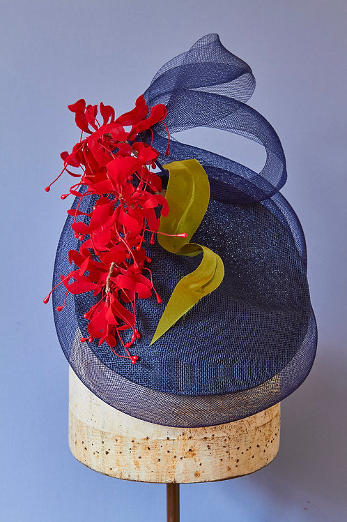 Navy Sinamay Percher with Crinoline Twist and Red Grevillea