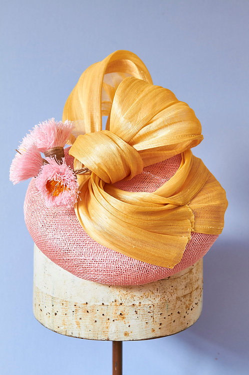 Pink Sinamay Button with Yellow Silk Abacca Twist and Gum Blossoms