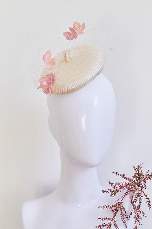 Mini beret with floating silk hydrangea