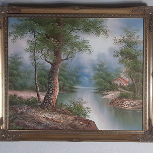 Waterside Oil Painting On Canvas, Signed