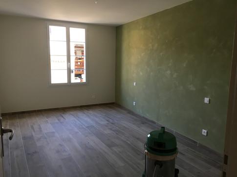 Chambre : produit déco sablé + peinture