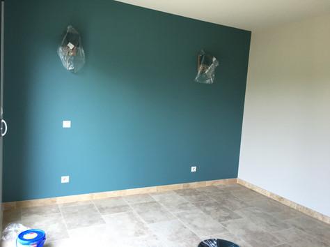 Chambre : peinture en 2 tons
