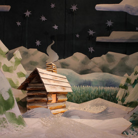 Snow Scene with Cabin