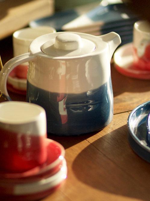 Pack 4 tazas rojas con/ platito & tetera