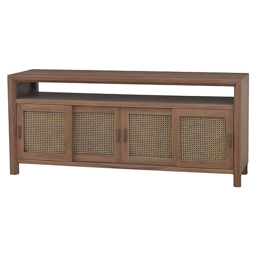 Stratton Sliding 4 Door Open Media Console w/rattan Truntum