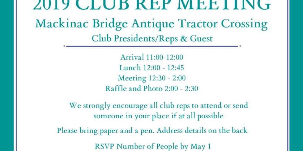 2019 Club Rep Meeting