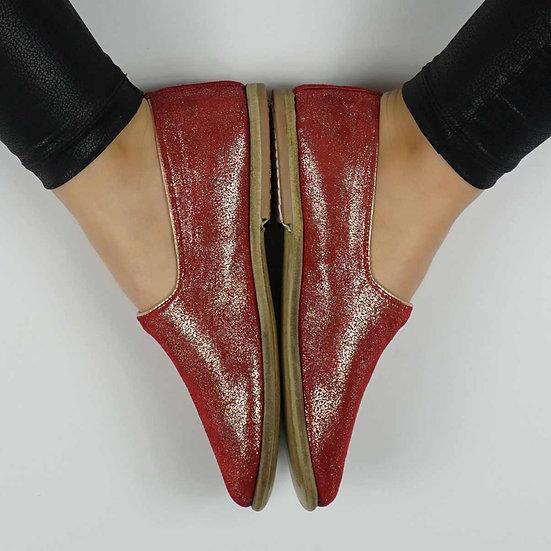 Bruce Lee Ayakkabı Simli Kırmızı Modeli