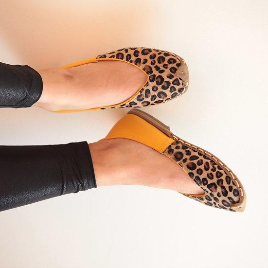 Havva Ana Ayakkabı Leopar-Sarı Modeli