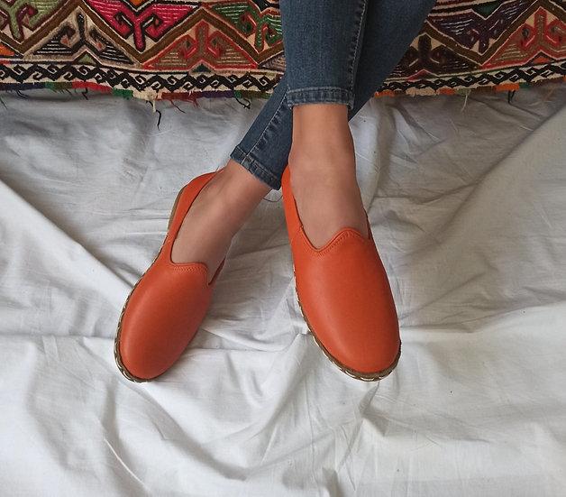 Klasik Yemeni Ayakkabı Turuncu Modeli
