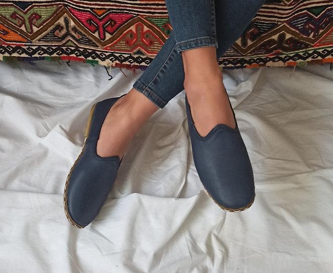 Klasik Yemeni Ayakkabı Lacivert Modeli