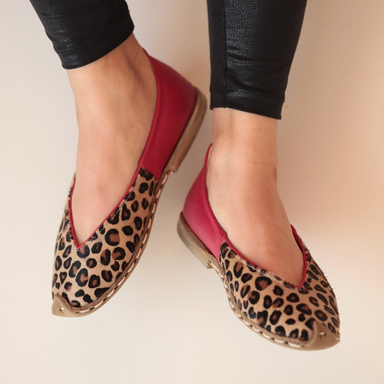 Havva Ana Ayakkabı Leopar Kırmızı Modeli