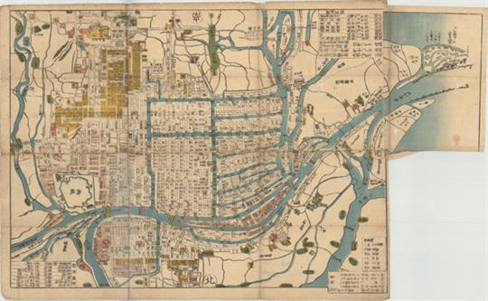 Map of Osaka City in 1847