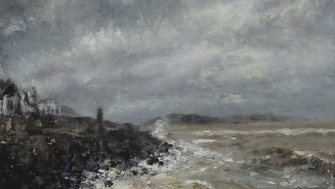 Rocks and Waves 2021 Oils on gesso board, 18 by 24cm £475