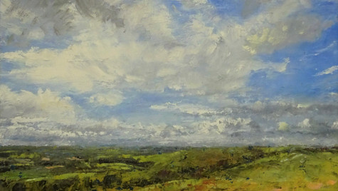 View across Dorset 2021 Oils on paper on card, 14 by 20cm, £350