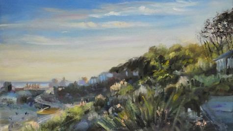 The Cobb, Autumn Sunset, 2021 Oils on canvas 20 by 32cm £495