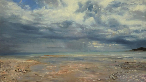 Stormcloud, Charmouth 2021 Oils on gesso board, 30 by 45cm, £850