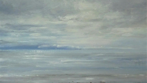 Charmouth, Silver Calm 2021 Oils on gesso board, 30 by 30cm, £600