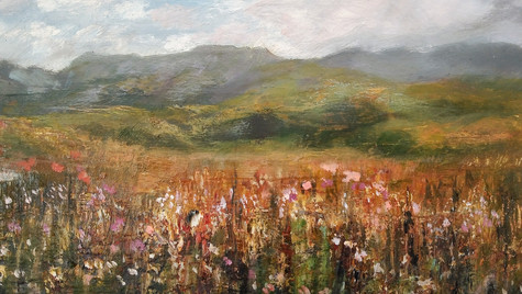 Autumn Meadow and Mountains
