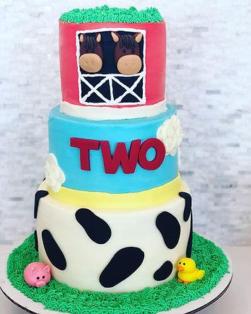 Custom Farm Themed Tiered Cake