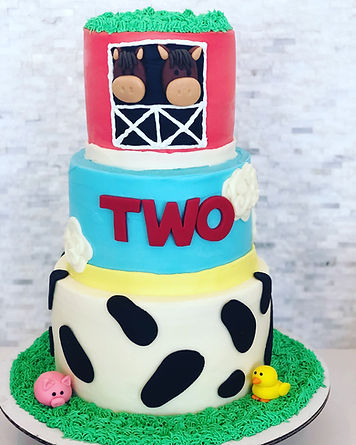 Custom Farm Themed Tiered Cake