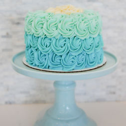 Blue Ombre Rosette Round Cake